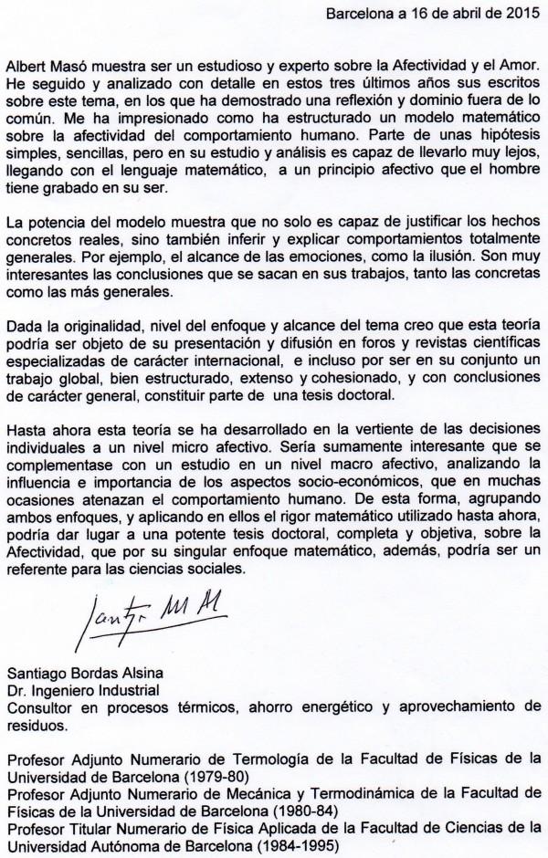 Carta de recomendación doctorado de Alberto Masó del Dr. Bordas