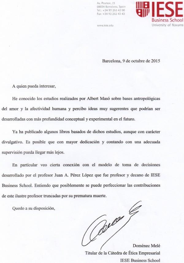 Carta de recomendación para Alberto Masó de Dr. Melé del IESE