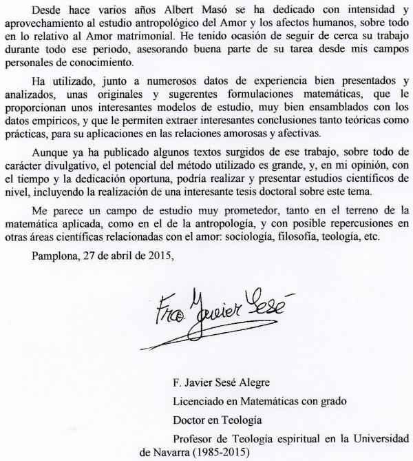Carta de recomendación doctorado Alberto Masó